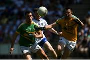 30 June 2018; Paddy Maguire, left, and Diarmuid McKiernan of Leitrim in action against Conor McManus of Monaghan during the GAA Football All-Ireland Senior Championship Round 3 match between Leitrim and Monaghan at Páirc Seán Mac Diarmada in Carrick-on-Shannon, Leitrim. Photo by Daire Brennan/Sportsfile