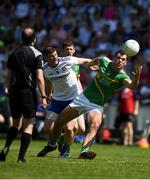 30 June 2018; Donal Wrynn of Leitrim in action against Darren Hughes of Monaghan during the GAA Football All-Ireland Senior Championship Round 3 match between Leitrim and Monaghan at Páirc Seán Mac Diarmada in Carrick-on-Shannon, Leitrim. Photo by Daire Brennan/Sportsfile