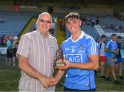 30 June 2018; Paul Dempsey, ESB Manager at the Electric Ireland GAA Minor Championships, presents Dublin's Luke Swan with the Player of the Match award for his major performance in the Electric Ireland GAA Leinster Minor Hurling Championship Final match between Dublin and Kilkenny at O'Moore Park in Portlaoise, Laois. Throughout the Championships, fans can follow the conversation, vote for their player of the week, support the Minors and be a part of something major through the hashtag #GAAThisIsMajor. Photo by Ray McManus/Sportsfile