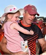30 June 2018; Armagh manager Kieran McGeeney with his daughter Leah, age 3, following the GAA Football All-Ireland Senior Championship Round 3 match between Armagh and Clare at the Athletic Grounds in Armagh. Photo by Seb Daly/Sportsfile