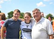 30 June 2018; Former jockey Johnny Murtagh, left, pictured with his daughter Lauren Murtagh of Kildare and his father-in-law Tipperary's Michael 'Babs' Keating after the GAA All-Ireland Minor B Ladies Football Semi-final match between Kildare and Waterford, preceding the GAA All-Ireland Minor A Ladies Football Semi-final between Cork and Dublin at MacDonagh Park in Nenagh, Tipperary. Photo by Harry Murphy/Sportsfile