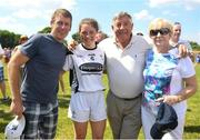 30 June 2018; Former jockey Johnny Murtagh, left, pictured with his daughter Lauren Murtagh of Kildare and his parents-in-law Tipperary's Michael 'Babs' Keating and Nancy Keating after the GAA All-Ireland Minor B Ladies Football Semi-final match between Kildare and Waterford, preceding the GAA All-Ireland Minor A Ladies Football Semi-final between Cork and Dublin at MacDonagh Park in Nenagh, Tipperary. Photo by Harry Murphy/Sportsfile