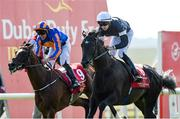 30 June 2018; Latrobe, right, with Donnacha O'Brien up, leads eventual second place finisher Rostropovich, with Padraig Beggy up, on their way to winning the Dubai Duty Free Irish Derby during day 2 of the Dubai Duty Free Irish Derby Festival at the Curragh Racecourse in Kildare. Photo by Matt Browne/Sportsfile