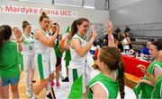 30 June 2018; Claire Rockall of Ireland celebrates with young fans after the FIBA 2018 Women's European Championships for Small Nations Classification match between Ireland and Moldova at Mardyke Arena, Cork, Ireland. Photo by Brendan Moran/Sportsfile