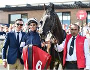 30 June 2018; Jockey Donnacha O'Brien and trainer Joseph O'Brien in the winner's enclosure after winning the Dubai Duty Free Irish Derby with Latrobe during day 2 of the Dubai Duty Free Irish Derby Festival at the Curragh Racecourse in Kildare. Photo by Matt Browne/Sportsfile