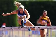 30 June 2018; Molly Scott of St. L. O'Toole A.C., Co. Carlow, on her way to winning the Junior Women 100mH event during the Irish Life Health National Junior & U23 T&F Championships at Tullamore Harriers Stadium in Tullamore, Offaly. Photo by Sam Barnes/Sportsfile