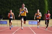 30 June 2018; Aaron Sexton of North Down A.C., Co. Down, competing in the Junior Men 200m event during the Irish Life Health National Junior & U23 T&F Championships at Tullamore Harriers Stadium in Tullamore, Offaly. Photo by Sam Barnes/Sportsfile