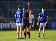 30 June 2018; Ciaran Brady of Cavan is shown a red card by referee David Coldrick during the GAA Football All-Ireland Senior Championship Round 3 match between Cavan and Tyrone at Brewster Park in Enniskillen, Fermanagh. Photo by Eóin Noonan/Sportsfile