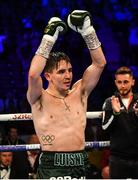 30 June 2018; Michael Conlan celebrates after defeating Adeilson Dos Santos during their Super Featherweight bout at the SSE Arena in Belfast. Photo by Ramsey Cardy/Sportsfile