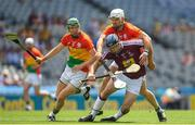 1 July 2018; Paul Greville of Westmeath is tackled by Chris Nolan of Carlow during the Joe McDonagh Cup Final match between Westmeath and Carlow at Croke Park in Dublin. Photo by Ramsey Cardy/Sportsfile