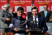 30 June 2018; Jockey Donnacha O'Brien and trainer Joseph O'Brien with the trophy after winning Dubai Duty Free Irish Derby during with Latrobe at day 2 of the Dubai Duty Free Irish Derby Festival at the Curragh Racecourse in Kildare. Photo by Matt Browne/Sportsfile