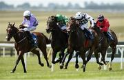 1 July 2018; Red Avenger, right, with Rory Cleary up, on their way to winning the Westgrove Hotel Handicap ahead of eventual second place finisher Kailee, centre, with Chris Hayes up, and fourth place finisher, Bay of Skaill with Niall McCullagh up, during day 3 of the Dubai Duty Free Irish Derby Festival at the Curragh Racecourse in Kildare. Photo by Matt Browne/Sportsfile