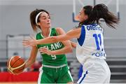1 July 2018; Grainne Dwyer of Ireland in action against Petra Orlovic of Cyprus during the FIBA 2018 Women's European Championships for Small Nations Classification 5-6 match between Cyprus and Ireland at Mardyke Arena, Cork, Ireland. Photo by Brendan Moran/Sportsfile
