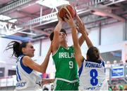 1 July 2018; Grainne Dwyer of Ireland in action against Petra Orlovic, left, and Stavroula Koniali of Cyprus during the FIBA 2018 Women's European Championships for Small Nations Classification 5-6 match between Cyprus and Ireland at Mardyke Arena, Cork, Ireland. Photo by Brendan Moran/Sportsfile