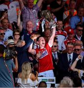 1 July 2018; Cork captain Seamus Harnedy lifts the cup following the Munster GAA Hurling Senior Championship Final match between Cork and Clare at Semple Stadium in Thurles, Tipperary. Photo by David Fitzgerald/Sportsfile