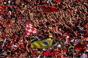 1 July 2018; A lone Clare flag flutters amongst the Cork supporters on the Davin Terrace, town end, before the Munster GAA Hurling Senior Championship Final match between Cork and Clare at Semple Stadium in Thurles, Tipperary. Photo by Ray McManus/Sportsfile