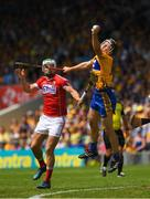 1 July 2018; Jack Browne of Clare in action against Shane Kingston of Cork during the Munster GAA Hurling Senior Championship Final match between Cork and Clare at Semple Stadium in Thurles, Tipperary. Photo by Ray McManus/Sportsfile