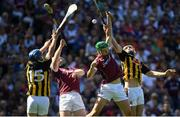 1 July 2018; Ger Aylward, left, and Richie Leahy of Kilkenny  in action against John Hanbury, left, and Adrian Tuohey of Galway during the Leinster GAA Hurling Senior Championship Final match between Kilkenny and Galway at Croke Park in Dublin. Photo by Ramsey Cardy/Sportsfile