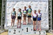 1 July 2018; Girls U11 600m medallists, from left, Gemma O'Mahony and Heather McCarthy of Dohenys A.C., Co. Cork, silver, Emily Bolton and Grace O'Grady of Metro St Brigids A.C., Co. Dublin, gold, and Amber Lane and Aisling Clare of Ratoath AC, Co. Meath, bronze during the Irish Life Health Juvenile Games & Inter Club Relays at Tullamore Harriers Stadium in Tullamore, Offaly. Photo by Sam Barnes/Sportsfile