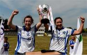 1 July 2018; Laois joint-captains Lauramarie Maher, left, and Mags McEvoy lift the cup after the TG4 Leinster Intermediate Championship Final match between Laois and Wicklow at Netwatch Cullen Park, Carlow. Photo by Piaras Ó Mídheach/Sportsfile