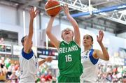 1 July 2018; Edel Thornton of Ireland in action against Petra Orlovic and Sofia Theologou of Cyprus during the FIBA 2018 Women's European Championships for Small Nations Classification 5-6 match between Cyprus and Ireland at Mardyke Arena, Cork, Ireland. Photo by Brendan Moran/Sportsfile