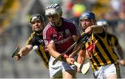 1 July 2018; Daithí Burke of Galway is tackled by Walter Walsh,left, and Ger Aylward of Kilkenny during the Leinster GAA Hurling Senior Championship Final match between Kilkenny and Galway at Croke Park in Dublin. Photo by Ramsey Cardy/Sportsfile