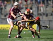 1 July 2018; Cillian Buckley of Kilkenny in action against Joe Canning and Conor Whelan of Galway during the Leinster GAA Hurling Senior Championship Final match between Kilkenny and Galway at Croke Park in Dublin. Photo by Ramsey Cardy/Sportsfile