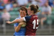 1 July 2018; Leah Caffrey of Dublin in action against Lucy McCartan of Westmeathduring the TG4 Leinster Ladies Senior Football Final match between Dublin and Westmeath at Netwatch Cullen Park in Carlow. Photo by Piaras Ó Mídheach/Sportsfile
