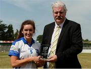 1 July 2018; Amy Potts of Laois is presented with the Player of the Match Award by Dominic Leech, President, Leinster LGFA, after the TG4 Leinster Intermediate Championship Final match between Laois and Wicklow at Netwatch Cullen Park, Carlow. Photo by Piaras Ó Mídheach/Sportsfile