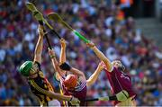 1 July 2018; Paul Murphy, left, and Paddy Deegan of Kilkenny in action against Conor Whelan, left, and Niall Burke of Galway  during the Leinster GAA Hurling Senior Championship Final match between Kilkenny and Galway at Croke Park in Dublin. Photo by Ramsey Cardy/Sportsfile