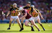 1 July 2018; John Hanbury of Galway in action against Kilkenny players, from left, Liam Blanchfield, Walter Walsh and TJ Reid during the Leinster GAA Hurling Senior Championship Final match between Kilkenny and Galway at Croke Park in Dublin. Photo by Stephen McCarthy/Sportsfile