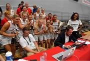 1 July 2018; The Denmark team react as they watch their men's national team score during a penaltyshoot out in the FIFA World Cup Finals after the FIBA 2018 Women's European Championships for Small Nations at Mardyke Arena in Cork, Ireland. Photo by Brendan Moran/Sportsfile