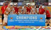 1 July 2018; The Denmark team celebrate with the cup during the closing ceremony of the FIBA 2018 Women's European Championships for Small Nations at Mardyke Arena in Cork, Ireland. Photo by Brendan Moran/Sportsfile