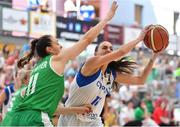 1 July 2018; Petra Orlovic of Cyprus in action against Fiona O'Dwyer of Ireland during the FIBA 2018 Women's European Championships for Small Nations Classification 5-6 match between Cyprus and Ireland at Mardyke Arena, Cork, Ireland. Photo by Brendan Moran/Sportsfile