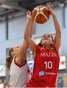1 July 2018; Christina Grima of Malta in action against Emma Hergot of Norway during the FIBA 2018 Women's European Championships for Small Nations 3rd place match between Norway and Malta at Mardyke Arena in Cork, Ireland. Photo by Brendan Moran/Sportsfile