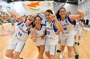 1 July 2018; Cyprus players, from left, Tijana Raca, Veatriki Akathiotou, Andriana Kasapi and Eleni Pilakouta celebrate after the FIBA 2018 Women's European Championships for Small Nations Classification 5-6 match between Cyprus and Ireland at Mardyke Arena, Cork, Ireland. Photo by Brendan Moran/Sportsfile
