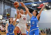 1 July 2018; Maria Steen Jespersen of Denmark in action against Cathy Schmit, left, and Julija Vujakovic of Luxembourg during the FIBA 2018 Women's European Championships for Small Nations Final match between Luxembourg and Denmark at Mardyke Arena in Cork, Ireland. Photo by Brendan Moran/Sportsfile