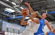 1 July 2018; Emilie Hesseldal of Denmark in action against Tessy Hetting of Luxembourg during the FIBA 2018 Women's European Championships for Small Nations Final match between Luxembourg and Denmark at Mardyke Arena in Cork, Ireland. Photo by Brendan Moran/Sportsfile