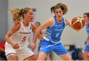 1 July 2018; Cathy Schmit of Luxembourg in action against Ida Tryggedsson Preetzmann of Denmark during the FIBA 2018 Women's European Championships for Small Nations Final match between Luxembourg and Denmark at Mardyke Arena in Cork, Ireland. Photo by Brendan Moran/Sportsfile