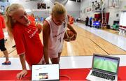 1 July 2018; Anna Gylling Seilund, left, and Emilie Hesseldal of Denmark watch Denmark v Croatia in the FIFA World Cup game prior to their FIBA 2018 Women's European Championships for Small Nations Final match between Luxembourg and Denmark at Mardyke Arena in Cork, Ireland. Photo by Brendan Moran/Sportsfile