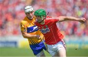 1 July 2018; Seamus Harnedy of Cork in action against Patrick O'Connor of Clare during the Munster GAA Hurling Senior Championship Final match between Cork and Clare at Semple Stadium in Thurles, Tipperary. Photo by David Fitzgerald/Sportsfile