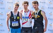 30 June 2018; U23 Men Javelin medallists, from left, Michael Jordan of Naas A.C., Co. Kildare, silver, Peter O'Shea of D.M.P. A.C., Co. Wexford, gold, and Rossa Foley of Farranfore Maine Valley A.C., Co. Kerry, during the Irish Life Health National Junior & U23 T&F Championships at Tullamore Harriers Stadium in Tullamore, Offaly. Photo by Sam Barnes/Sportsfile