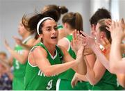 1 July 2018; Ireland captain Grainne Dwyer is introduced prior to the FIBA 2018 Women's European Championships for Small Nations Classification 5-6 match between Cyprus and Ireland at Mardyke Arena, Cork, Ireland. Photo by Brendan Moran/Sportsfile