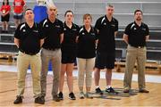 1 July 2018; The Ireland management team, from left, head coach Mark Scannell, assistant coach Francis O'Sullivan, physio Maura Murphy, team manager Grace O'Sullivan, assistant coach Colin O'Reilly and assistant coach Paul Kelleher during the FIBA 2018 Women's European Championships for Small Nations Classification 5-6 match between Cyprus and Ireland at Mardyke Arena, Cork, Ireland. Photo by Brendan Moran/Sportsfile