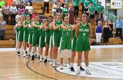 1 July 2018; The Ireland team stand for the national anthem prior to the FIBA 2018 Women's European Championships for Small Nations Classification 5-6 match between Cyprus and Ireland at Mardyke Arena, Cork, Ireland. Photo by Brendan Moran/Sportsfile
