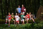 3 July 2018; Breaking new ground: Top inter-county stars took in the breath-taking scenery at Mullaghmeen Forest in county Westmeath, to launch the revamped 2018 TG4 All-Ireland championships. TG4 have announced a four-year extension of their sponsorship of the Ladies Football championships, with the new deal set to last until the conclusion of the 2022 season. 17 Ladies Football championship games will be broadcast this summer exclusively live on TG4, with the senior and intermediate championships to be played on a new, round-robin basis. Pictured are, from left, Rebecca Carr of Louth, Karen Guthrie of Donegal, Neamh Woods of Tyrone, Niamh McEvoy of Dublin, Cathy Mee of Limerick, Áine McDonagh of Galway, Melissa Duggan of Cork, and Laurie Ryan, of Clare at Mullaghmeen Forest, Co. Westmeath. Photo by Seb Daly / Sportsfile