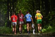 3 July 2018; Breaking new ground: Top inter-county stars took in the breath-taking scenery at Mullaghmeen Forest in county Westmeath, to launch the revamped 2018 TG4 All-Ireland championships. TG4 have announced a four-year extension of their sponsorship of the Ladies Football championships, with the new deal set to last until the conclusion of the 2022 season. 17 Ladies Football championship games will be broadcast this summer exclusively live on TG4, with the senior and intermediate championships to be played on a new, round-robin basis. Pictured are, from left, Melissa Duggan of Cork with Áine McDonagh of Galway, Niamh McEvoy of Dublin and Karen Guthrie of Donegal at Mullaghmeen Forest, Co. Westmeath. Photo by Seb Daly / Sportsfile