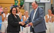 1 July 2018; Alison Muir, FIBA Crew Chief Commissioner makes a presentation to the LOC, accepted by Bernard O'Byrne, CEO, Basketball Ireland, during the closing ceremony of the FIBA 2018 Women's European Championships for Small Nations at Mardyke Arena in Cork, Ireland. Photo by Brendan Moran/Sportsfile