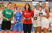 1 July 2018; The All Star 5 players with their medals, from left, Fiona O'Dwyer of Ireland, Cathy Schmit of Luxembourg, Ashleigh Stephanie Vella of Malta, Maria Steen Jespersen of Denmark and Emilie Hesseldal of Denmark, during the closing ceremony of the FIBA 2018 Women's European Championships for Small Nations at Mardyke Arena in Cork, Ireland. Photo by Brendan Moran/Sportsfile