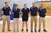 30 June 2018; Ireland team managemenr, from left, assistant coach Paul Kelleher, team manager Grace O'Sullivan, physio Maura Murphy, assistant coach Francis O'Sullivan and head coach Mark Scannell prior to the FIBA 2018 Women's European Championships for Small Nations Classification match between Ireland and Moldova at Mardyke Arena, Cork, Ireland. Photo by Brendan Moran/Sportsfile
